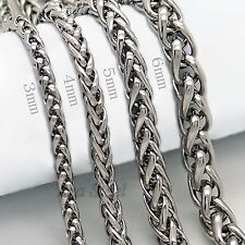 """3/4/5/6MM 18-36""""  MENS Silver Stainless Steel Wheat Braided Chain Necklace"""