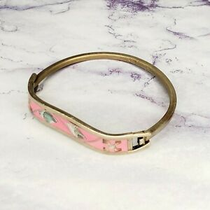 Vintage-Sterling-Silver-925-Hinged-Cuff-Bracelet-Pink-Enamel-Inlay-Mexico