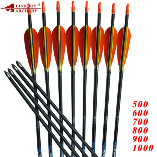 12PCS 30/'/' SF Carbon Arrows ID4.2mm Spine 500-1000 Turkey Feather Bow Archery