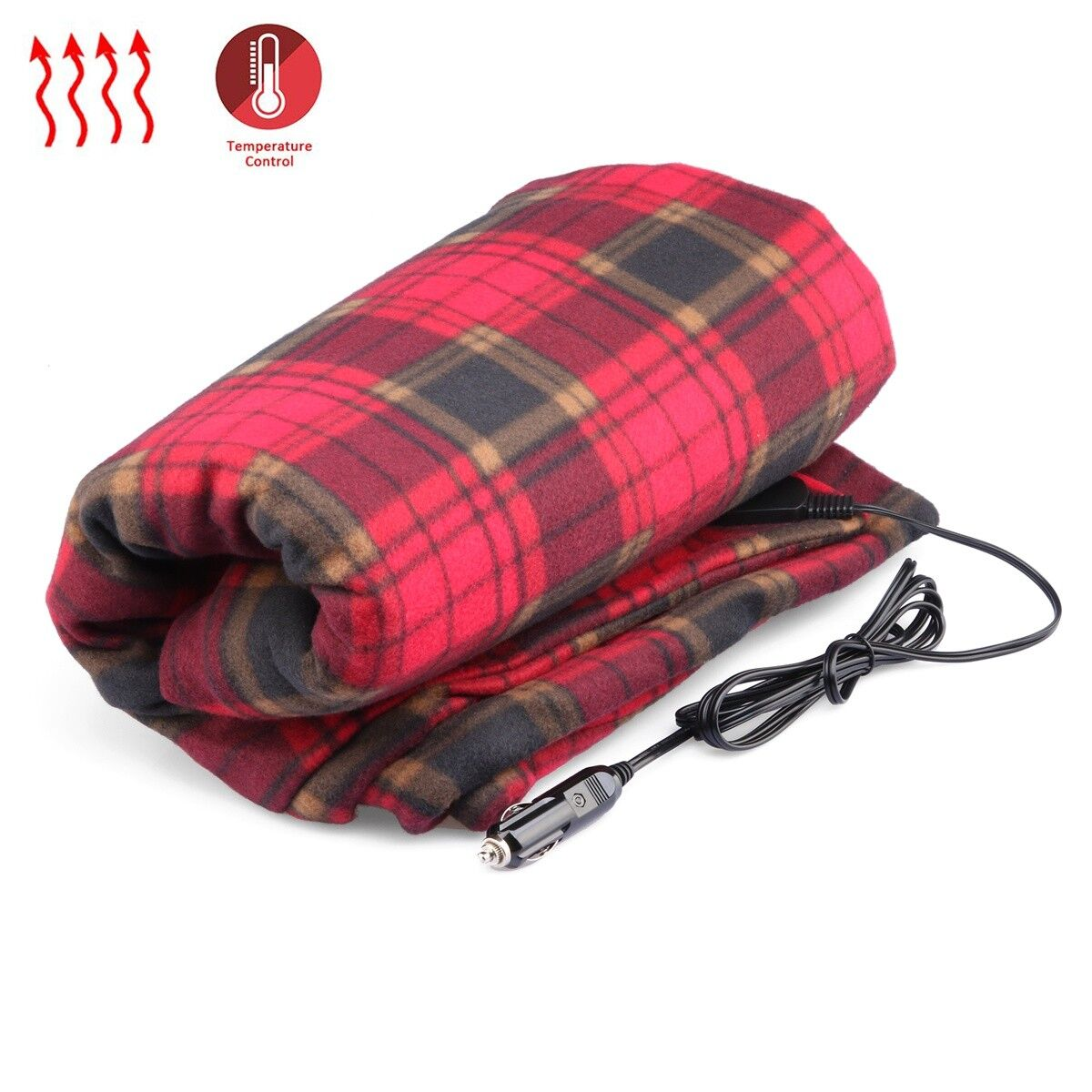 12-Volt Heated Travel Blanket (Red Plaid, 59  x 43 ) with Patented Safety Timer