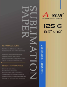 A-SUB Sublimation Paper 8.5/'/' x 14/'/' 110 Sheets 125gsm for All Inkjet Printer