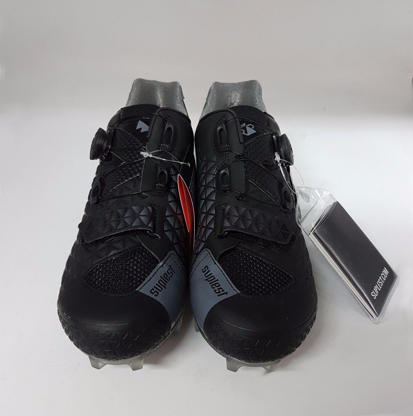 Suplest borde Nylon 3 BICICLETA DE MONTAÑA XC Crosscountry montaña Zapatos De Ciclismo Negro Talla 47
