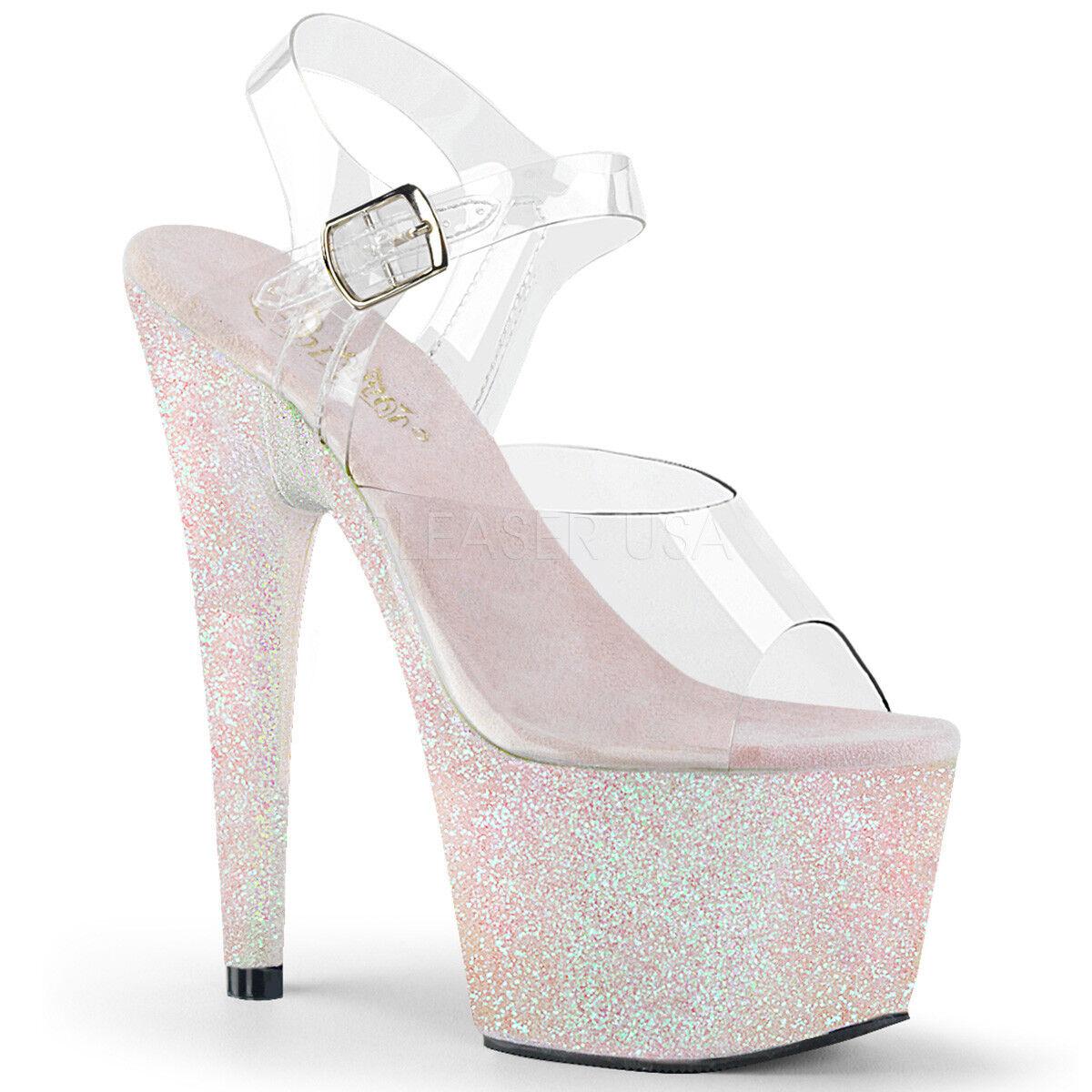 più economico Pleaser ADORE-708HMG Donna    Clear Opal Multi Glitter Heel Platform Strap Sandal  acquisto limitato