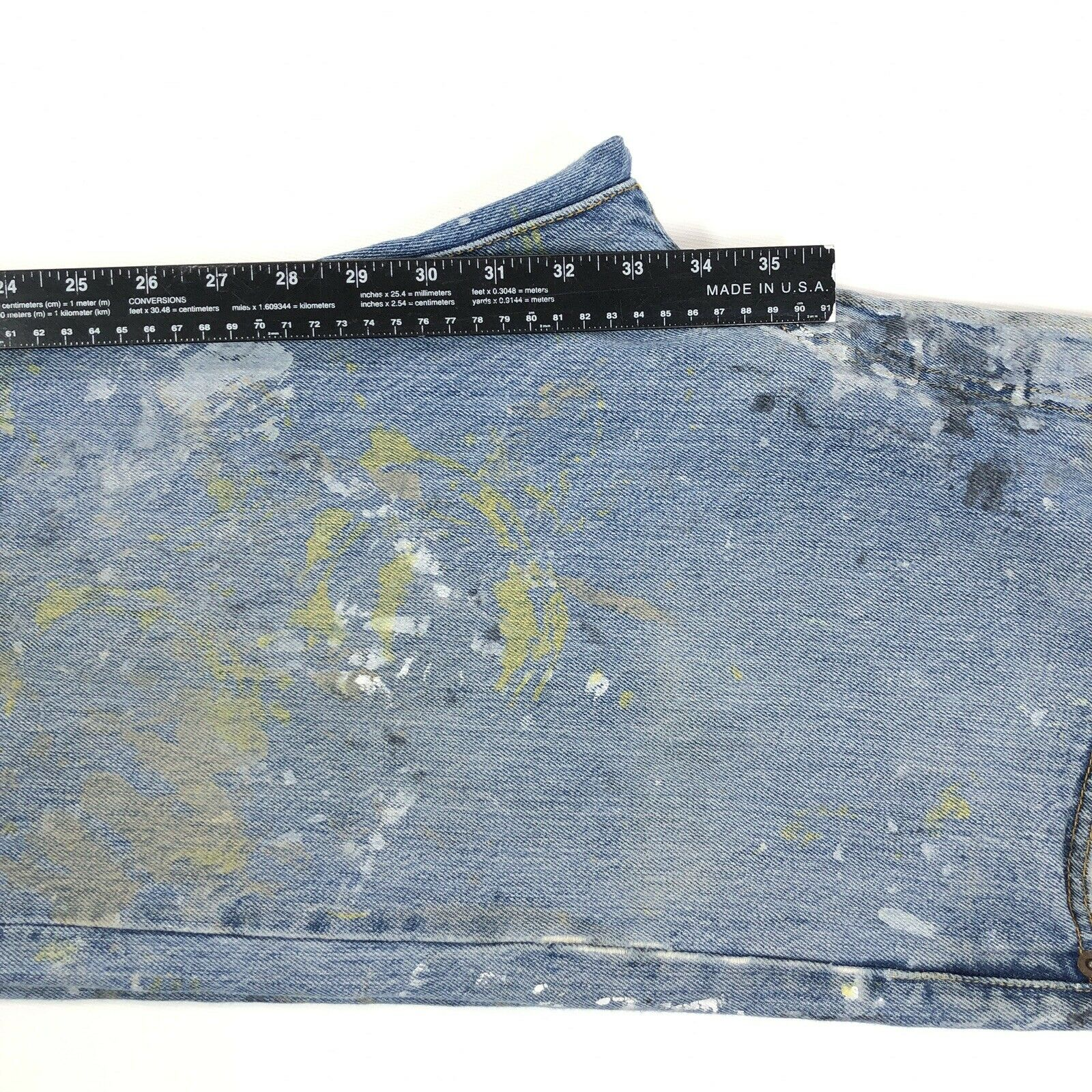 vtg 90s LEVI'S 501 Faded Work Worn Button Fly Jea… - image 10