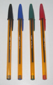 Lot x4 Stylos à Bille Bic Classic Mine Fine Bleu + Noir + Rouge + Vert NEUF