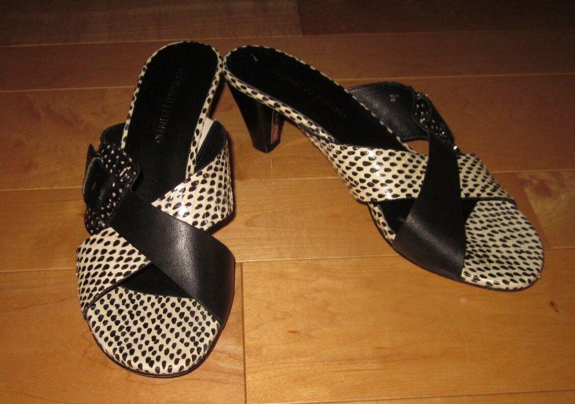 Donald J Pliner Black & White White White Leather Buckle Sandals Heels Villa 8 M e4d0b8