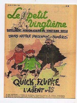 Le Petit Vingtième n°26 du 30 JUIN 1938 Carte Postale Tintin Quick et Fluoke
