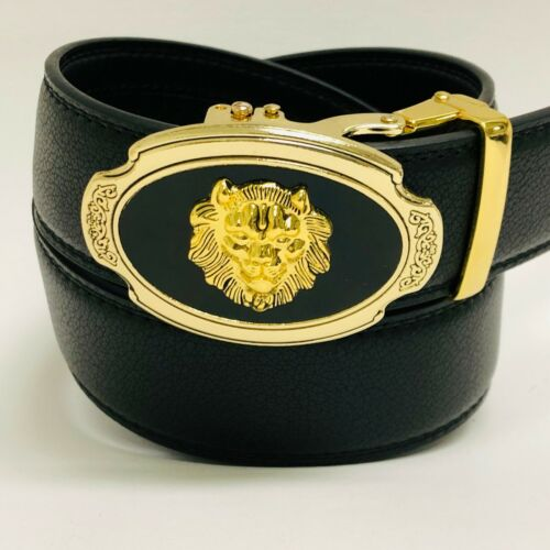 Correas Cinturones de Piel Moderno Sin Hoyos Hombre Tigre Hebilla Dorado Moda