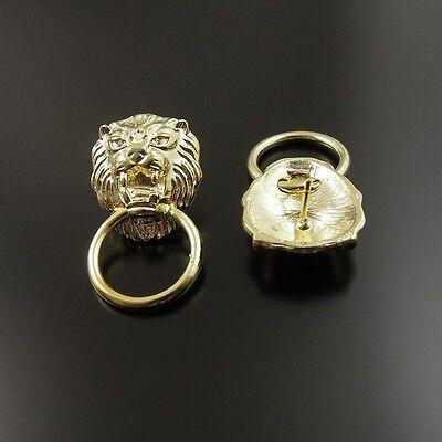 14pcs  Gold Tone Alloy Cool Lion Head Earring Stud Hoop