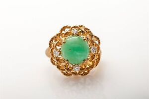 Vintage-1960s-5000-7ct-Colombian-Emerald-Diamond-14k-Gold-BIG-Ring