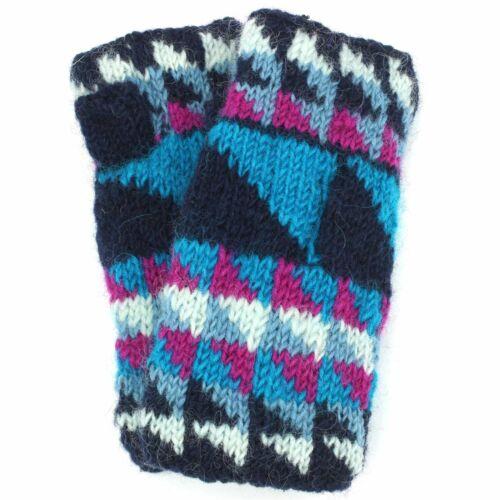 Wool Knit Arm Warmer Triangles Winter Warm Fleece Lined New 80s Retro