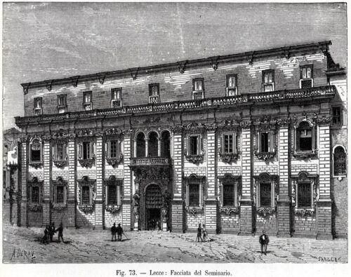 Seminario Arcivescovile Lecce Salento.Puglia.Stampa Antica Passepartout.1899
