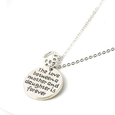 The Love Between Mother and Daughter Silver Necklace Pendant Jewelry Family Gift