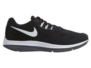 1b40b00910b NIKE Men s Zoom Winflo 4 Black White Dark Grey Running Shoe   898466 ...