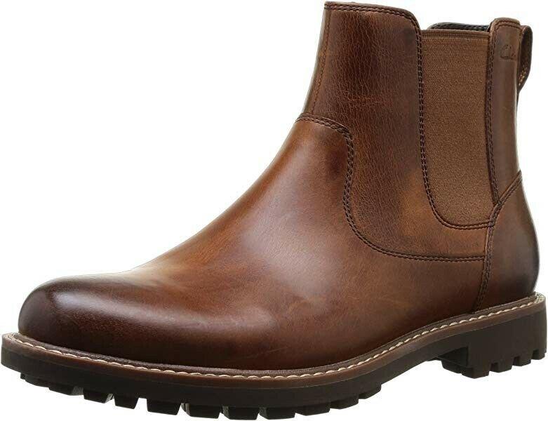 Clarks Montacute Top Oscuro Bronceado Cuero Chelsea Tobillo botas Talla  43