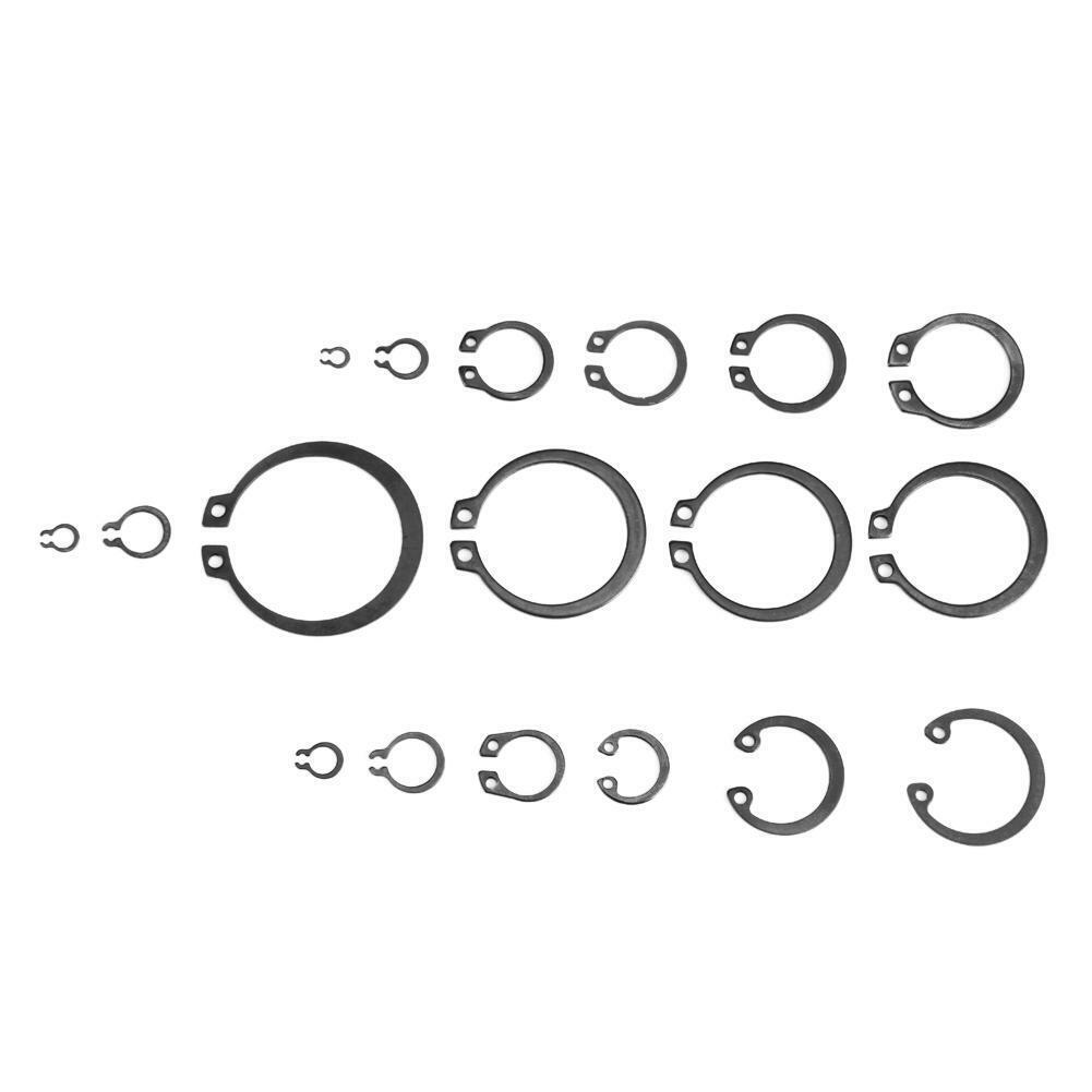 BiuZi 300Pcs 2-32mm E-Clip Snap Circlip Kit Metal Black External Retaining Ring Assortment Set Circlip Kit