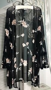 NEW-Plus-Size-2X-Black-Floral-Mesh-Boho-Bell-Sleeve-Open-Duster-Topper-Kimono