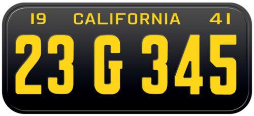 1941 California Old Vintage Retro US USA License Plate Number Plate Embossed Alu