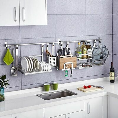 Wall Hanging Kitchen Rack 1Pc Stainless Steel Pot Lid Shelf Cover Storage  Frame | eBay