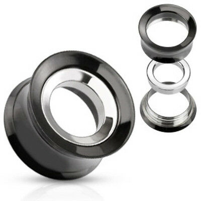 PAIR Gold Internally Threaded Tunnels w//Removable Steel Disc Plugs Body Jewelry