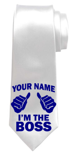 NAMED MANAGERS GIFT* I/'M THE BOSS PERSONALISED NECK TIE *ANY NAME//TEXT COLOUR