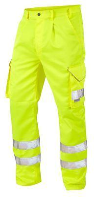 Leo Workwear Bideford CT01 Mens Work Trousers Hi Vis Reflective Knee Pad Pockets