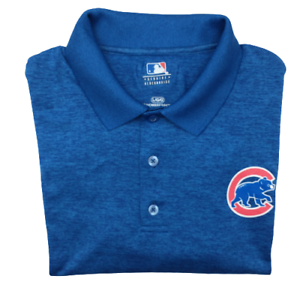 MLB Chicago Cubs Men's Large Blue Heather Performance Golf Polo Polyester