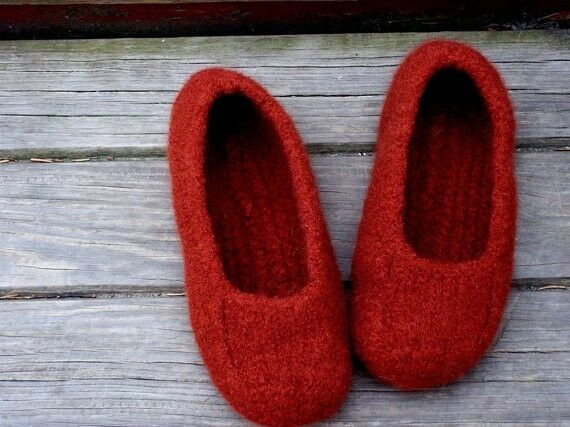 Handmade Felted Wool orange Womens shoes, Size 6 Comfort winter slippers, Duffer