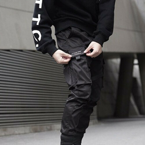Mens Loose Punk Harem Cargo Pocket Trousers Casual Baggy Pants Military Overalls