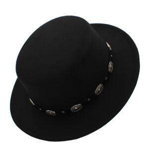 e27116ca4431c Men Women Flat Top Pork Pie Hats Boater Sailor Caps Sunhat Wool Wide ...
