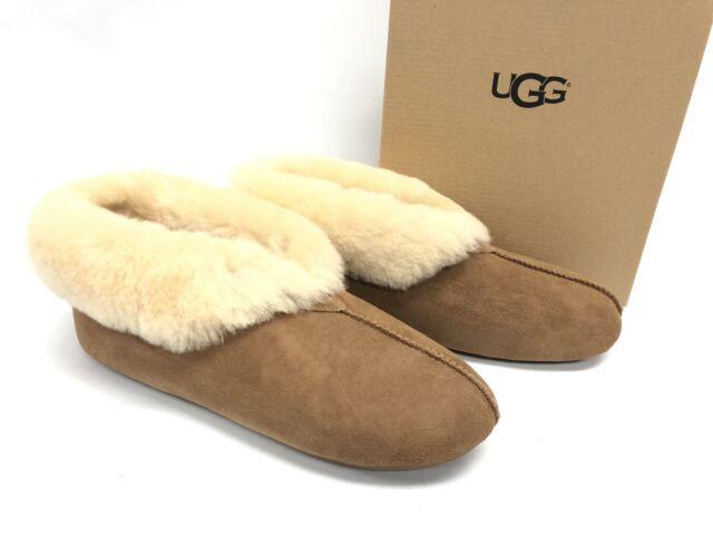 726b9bca72b UGG Roo Revival Chestnut Suede Sheepskin Cuff Women's Slippers Size US 10