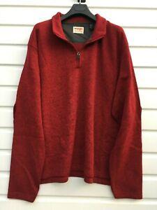 Men-039-s-Wrangler-Quarter-Zip-Fleece-Pullover-Gr-XL-Sweatshirt-Top-Rot