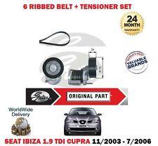 FOR SEAT IBIZA 1.9TDI 2003-2006 CUPRA GATES ALTERNATOR FAN BELT + TENSIONER KIT