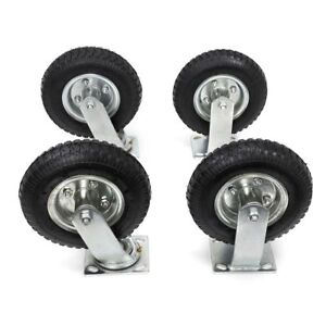 10-034-4Pcs-Pneumatic-Air-Tire-Wheels-2-Rigid-2-Swivel-HD-Farm-Cart-Caster-Black