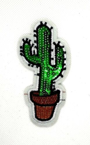 Sequin Embroidered Iron On Patches Cactus Plant Fabric Applique Craft Sew 200