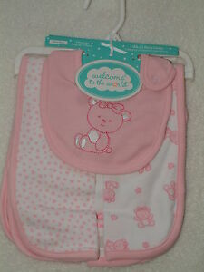 Welcome-to-the-World-Baby-Girl-Bib-and-Burp-Cloths-Set-Pink-Bear-FREE-SHIPPING