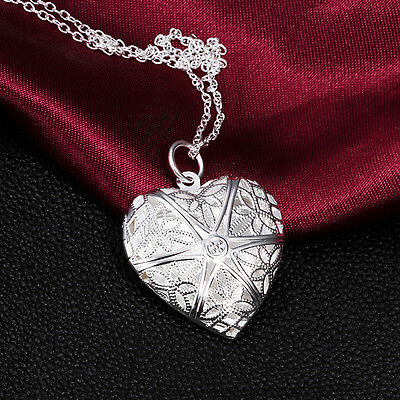 Chic Sliver Plated Love Heart Valentine Necklace Pendant Lover Locket Chain Gift