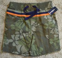 Old Navy Infant Baby Boys Army Green Tropical Floral Print Shorts 12-18 M Months