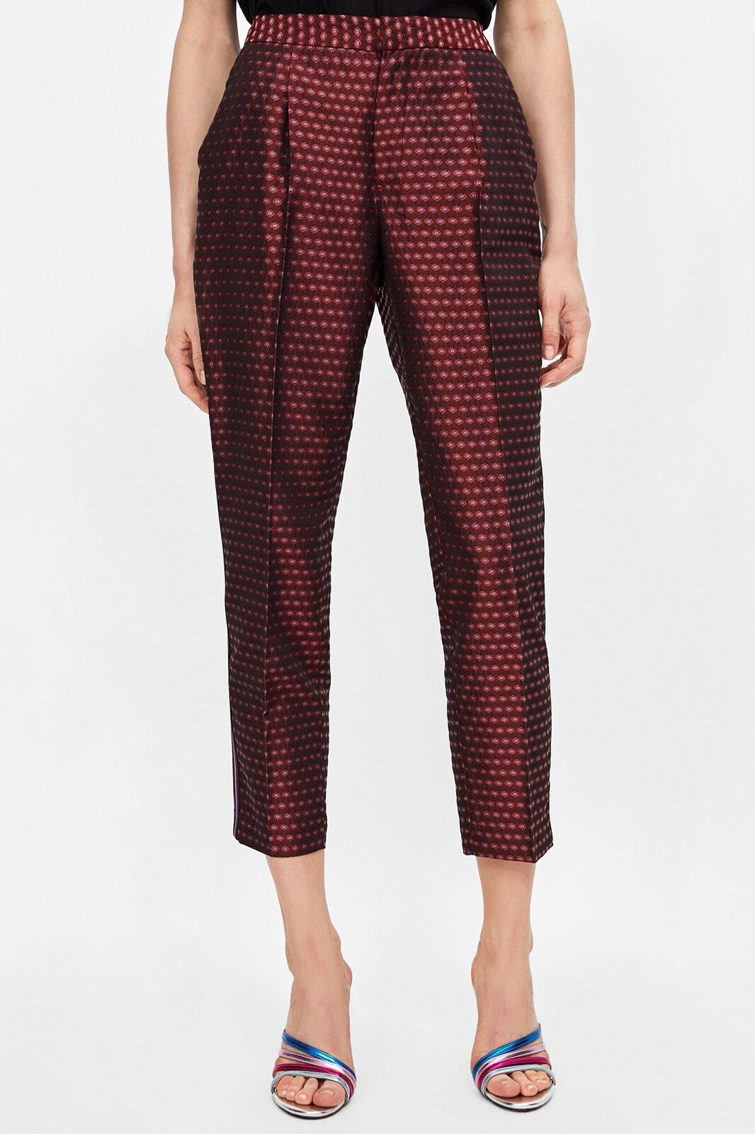 ZARA Jacquard Patterned High   Mid Waisted Trousers With Side Stripe M