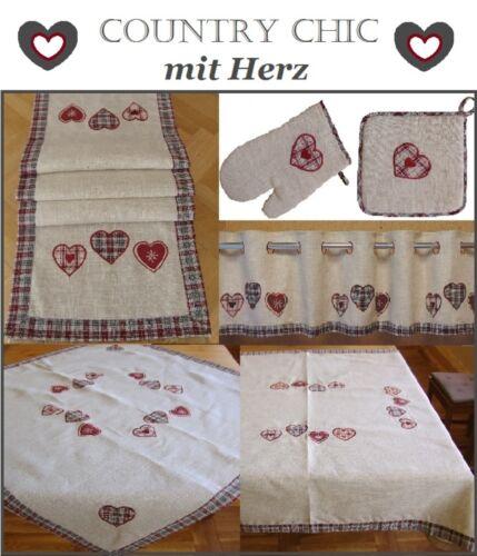 Landhaus mit Herz Scheibengardine Bistro Leinen Natur mit Karo /& Applikation #24