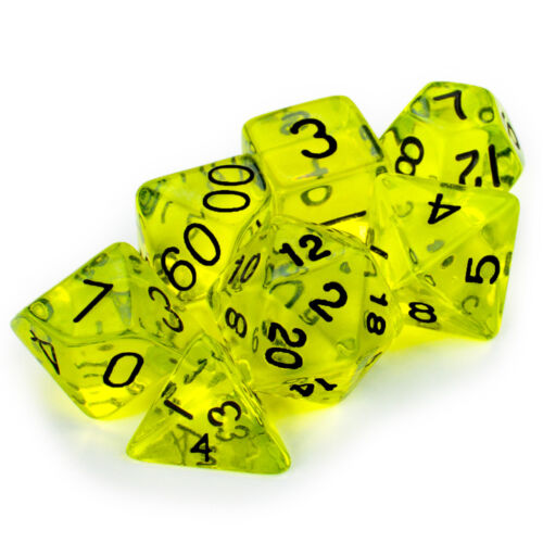5 d00 Percentile Boiled Bile Green Transparent 10 Sided Polyhedral Dice Lot