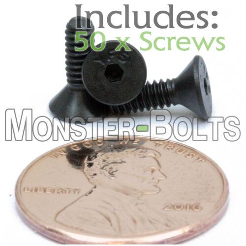 "Alloy Steel Black Oxide #4-40 x 3//8/"" FLAT HEAD Socket Cap Screws Qty 50"