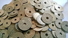 LOT DE 100 PIECES  DE 5, 10,25 CENTIMES CTS LINDAUER PIECES A TROU FRANCE