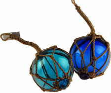 Set Of 2 Nautical Blue Glass Balls In Fishing Net Rope - Decorative Ornament