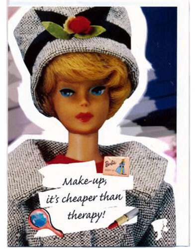 its cheaper than therapy Faltkarte mit Umschlag Vintage Make-up