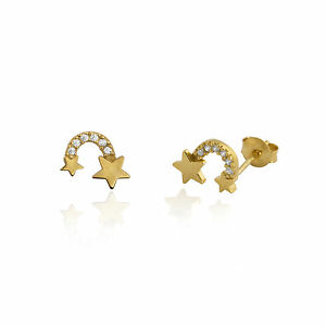 Image Is Loading Sterling Silver 925 Gold Constellation Shooting Star Stud