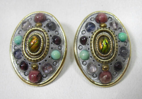 MICHAL GOLAN Designer Signed Oval Clip Earrings w/ Semi-Precious Gemstones Stone