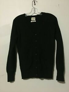Details about Lara Knit 100% Cashmere Black Cardigan Sweater Top Women Size S Stylish Pocket