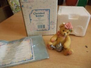 Vintage-en-caja-retirado-Cherished-Teddies-Oso-De-Peluche-Rosa-Flor-Chica-1996-202886
