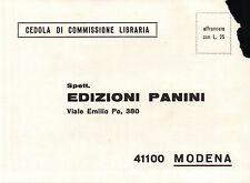 """CARTOLINA """" CEDOLA DI COMMISSIONE LIBRARIA """" EDIZIONI PANINI MODENA  3-210"""